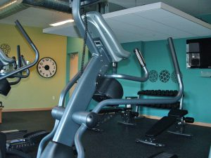 Some condo association amenities include an equipped exercise room.