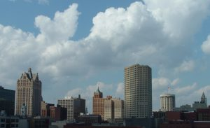 Downtown Milwaukee skyline as viewed from the south