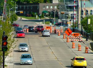 Construction zones contribute to the challenges of street parking near condo buildings.