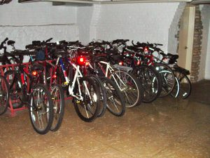 A common area, dedicated bike storage room is the policy in other condo buildings.