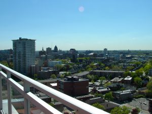 Mrs. James' sunny afternoon view, with Holy Hill visible on the western horizon.