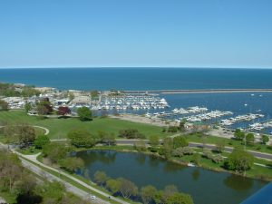 Juneau Park, McKinley Beach and Marina, flanked by Linclon Memorial Drive through Milwaukee's lakefront.