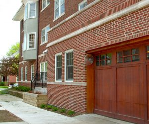An attached garage is seldom accessible directly from a condo unit but occupies one or several floors in the building. A typical exception is the townhouse style of condo.